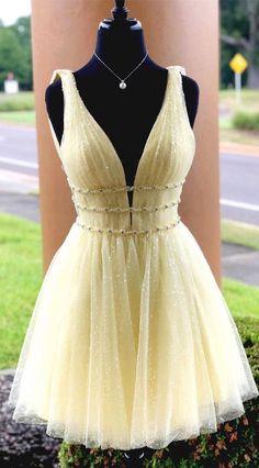 V neck Tulle Yellow Short Homecoming Dress, | DestinyDress Dresses Short, Hoco Dresses, Dance Dresses, Evening Dresses, Dresses For Work, Formal Dresses, Sexy Dresses, Summer Dresses, Wedding Dresses
