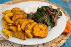 Sauteed Beet Greens and Chili Sweet Potato Rounds - Exclude fried egg for vegan option.