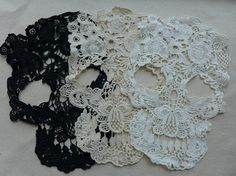 Lace Applique, Skull Lace Appliques, Cotton Lace Trim, Large Skull Appliques, Costume design, 3 Pcs
