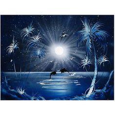 Trademark Fine Art Dolphins at Night Canvas Art by Conrad, 18x24, Multicolor