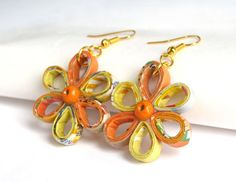 Yellow Orange Flower Earrings Paper sustainable eco friendly