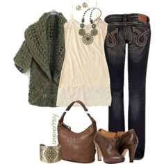 """""""Green Knit Cardigan"""" by cmmorrasy on Polyvore"""