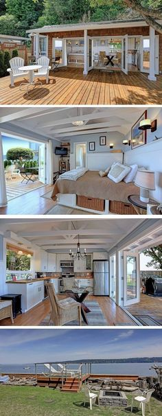 Shed DIY - Even if you can't be on the water all the time, decorate with calming tones to turn your home into a retreat. We love how this tiny beach house (which is for sale!) located on Tyee Beach on Washington state's Camano Island incorporates its outdoor living space. #beachhousedecorideas #DIYHomeDecorOutdoor Now You Can Build ANY Shed In A Weekend Even If You've Zero Woodworking Experience!