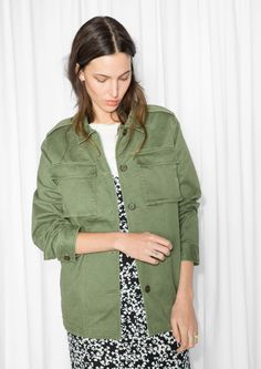 & Other Stories image 2 of Cotton-Twill Structured Shirt   in Green