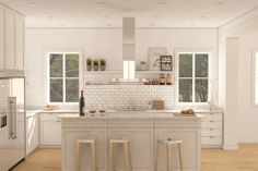 "modern farmhouse kitchen design. In our new ""Modern Craftsman Bungalow."" Plan 888-10"