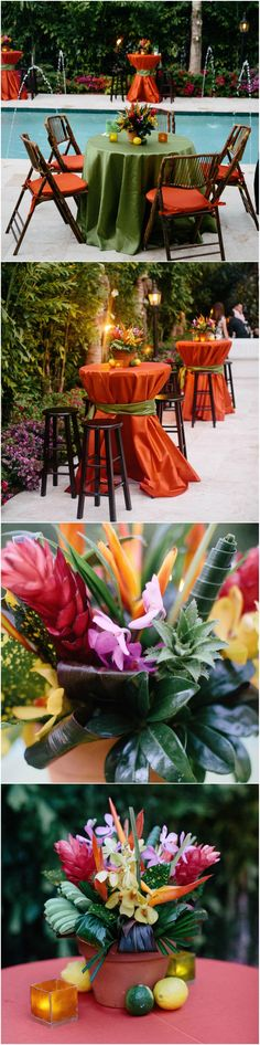 Tropical wedding, Miami, outdoor reception, green & orange, tropical flowers, citrus fruits // Erika Delgado Photography