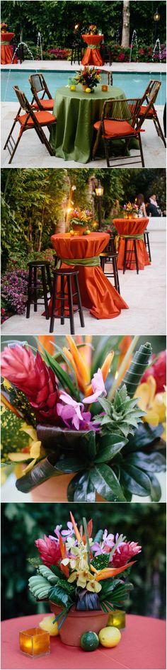 Tropical wedding, Miami, outdoor reception, green & orange, tropical flowers, citrus fruits // Erika Delgado Photography