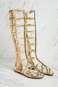 Gold Gladiator Sandals - Fashion Effect Store  - 2