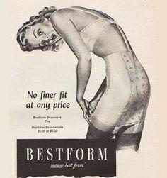 Bestform Lingerie Means Best Form No Finer Fit - Mad Men Art: The Vintage Advertisement Art Collection Mode Vintage, Vintage Vogue, Vintage Shoes, Vintage Ads, Vintage Posters, Vintage Designs, Stockings Lingerie, Vintage Stockings, Black Stockings