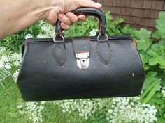 Vintage Small Black Cowhide Doctor's Bag With by rustysecrets, $65.00