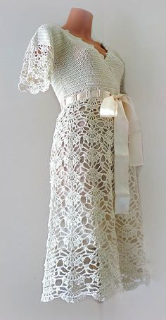 Style Wedding Dress, Simple Bridal gown with short sleeves, Midi, wrap, Crochet Cotton casual dress Simple Bridal Dress with short sleeves Midi wrap lace dress Mode Crochet, Crochet Lace, Crochet Wraps, Crochet Summer, Hand Crochet, Crochet Skirts, Crochet Clothes, Diy Clothes, 50s Style Wedding Dress