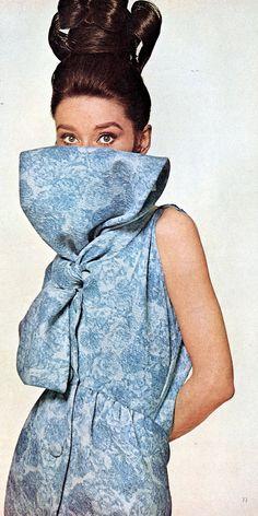 Audrey is wearing cloque silk dress printed in shades of china blue by Givenchy, Audrey's hair is by Alexandre, photo by Bert Stern, Vogue April 1963
