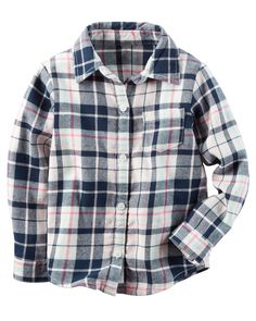 Kid Girl Button-Front Flannel Top | Carters.com, Jackie, 7