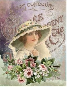 ♥ beautiful vintage lady in white hat adorned with green ribbons and fowers … Vintage Printable, Vintage Labels, Vintage Ephemera, Vintage Postcards, Floral Vintage, Vintage Diy, Vintage Easter, Vintage Prints, Decoupage Vintage