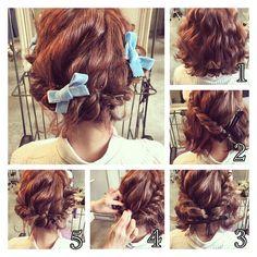 * * ボブ♡アレンジ  上級者編  1  波ウェーブ  2  表面の毛をすくいながらロープ編み  3  ロープ編みする時下の毛を残す  4  残した毛をロープ編みにねじり込む  5  金ピンでとめる  #ヘアアレンジ #コーデ #fashion