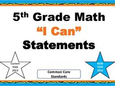 I Can 5th Grade Math Statements