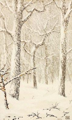 """Trees in Snow"" George Elbert Burr (American, 1859-1939) 1883 Medium: Pen and ink, and ink wash on paper"