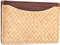 Straw Weave Leather Credit Card Holder - Lyst