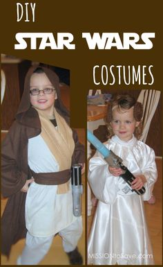 Like It, Share It! 1040324 Do you have a Star Wars fan in your house? Thenthey have probably informed youthey will be using the force to conquer Trick or Treat this year. Check out these DIY Star Wars Costumes (to save the galaxy and your budget). Jedi (Obi-Wan, Luke) Hooded brown robe (thrift store is great for this) Tan felt Brown scarf or scrap of fabric or wide belt Tan cargo pants and cream colored shirt Pool noodle, black tape,  {Read More}