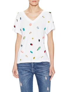 Jeweled Cotton V-Neck T-Shirt from Stella McCartney Apparel on Gilt