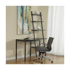 3piece White Leaning Ladder Bookshelf with Laptop Desk This