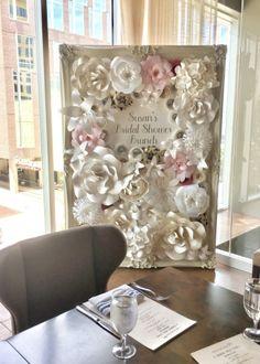 Paper flowers. Paper flower wall. Paper flower frame. Paper flower rental. Houston paper flowers. Houston paper flower rental. Personalized backdrop. Bridal shower decor. Wedding. Bridal shower. Baby shower.