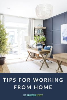 The best tips and tricks for working from home. Read about all of my favorite tips for working from home full time! Affordable Office Furniture, White Office Furniture, Cheap Furniture, Outdoor Furniture Sets, Country Office, Office Furniture Manufacturers, Life On Virginia Street, Stand Up Desk, Wood Desk