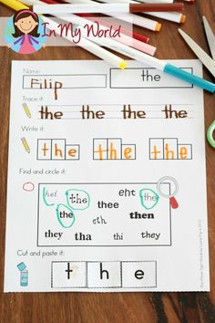 FREE Sight Words Cut and Paste activity