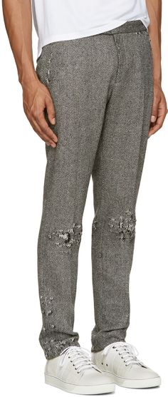 Palm Angels - Grey Distressed Herringbone Trousers