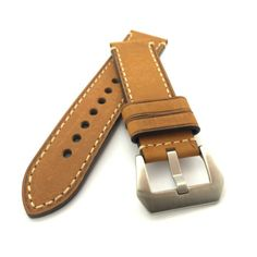 Classic Brown Crazy Horse Leather Watch Strap (316L Steel, 22mm, 24mm) #CozyAccessories