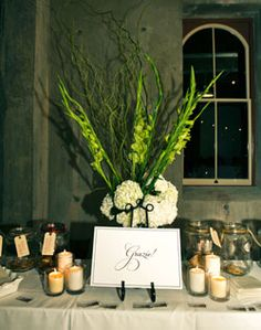 Green and White Centerpiece on Favor Table