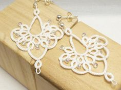 handmade Tatted lace earrings lace with glass di SnappyTatter, $30.00