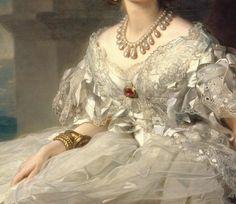 the-hardest-of-hearts-survive:  Detail from Portrait of Princess Tatyana Alexandrovna Yusupova (1858) by Franz Xaver Winterhalter
