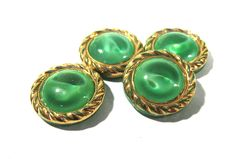 Green Moonglow Glass Shankless Buttons West Germany VINTAGE Green Gold Luster Buttons Four(4) Vintage Buttons Jewelry Sewing Supplies (S204) by punksrus on Etsy