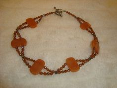 """Retro Natural Polished Stone & Beaded Peach Necklace 16"""" W/ Heart Toggle Clasp"""
