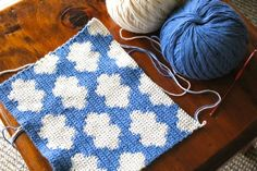 Tapestry crochet clouds, no pattern.