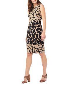 Phase Eight Leora Leaf Print Dress Women's Black/Camel 10