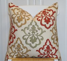 BOTH SIDES - Decorative Pillow Cover - 20 x 20 - Accent Pillow - Sage Green - Golden Brown - Cinnamon Red - Ivory - Fleur de Lis print. $42.00, via Etsy.