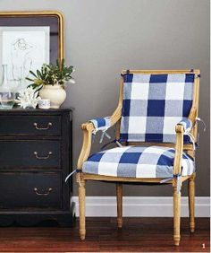 beautiful navy buffalo check --- love it! Would be perfect for living extra chair Beautiful Home Gardens, Beautiful Homes, Table Cafe, Take A Seat, Buffalo Check, White Decor, Soft Furnishings, Slipcovers, Side Chairs