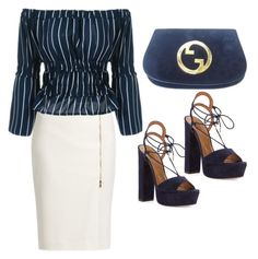 """""""So chic"""" by ellenfischerbeauty ❤ liked on Polyvore featuring MaxMara, Aquazzura and Gucci"""
