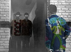 Image: From an unknown sci-fi flick, with clothing altered. Man looking into a doorway at two men with glowing eyes, one wearing a bowling style shirt with a pattern of skulls and roses. Skulls And Roses, Bowling Shirts, Doorway, Custom Shirts, Shirt Style, Sci Fi, Eyes, Clothing, Pattern