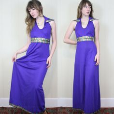 Vtg 70s Psychedelic MAXI Dress Purple and Gold / METALLIC trim / Space queen dress / Full sweep HALTER backless Empire Waist / Small Medium
