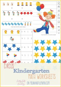 Free Kindergarten Math Worksheet Printable with a Circus Theme - 10 pages