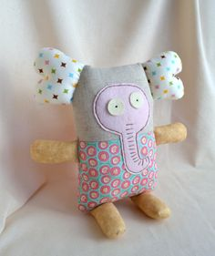 Stuffed Soft Fabric Toy - Crazy Elephant from Crazy Zoo - Baby Toy, Funny Gift, Nursery Decor