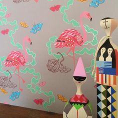 Sas and Yosh 'Paradise Parade - GreyPink' wallpaper sample image Wallpaper Samples, Pattern Design, Paradise, Wall Decor, House Design, Create, Illustration, Artist, Inspiration