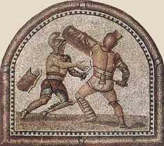 In this detail from a larger mosaic in the Römerhalle, Bad Kreuznach (Germany), the Thraex attacks with the sword in his left hand, which usually would hold the shield. Gladiators were trained to fight against those who were right-handed, and it was the right-hand side that was protected. It must have been disconcerting, therefore, to confront a left-handed opponent, who would have the advantage.