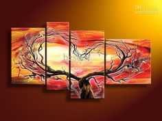 hand-painted oil wall art sun Red tree Landscape oil painting on canvas 4pcs/set mixorde Framed