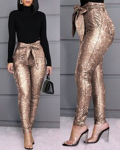 Glitter Sequins Belted Skinny Pants Style:Fashion Pattern Type:Sequins Material:Polyester Length:Long Occasion:Casual Package Note: There might be difference according to manual measurement. Please check the measu… Fashion Pattern, Barbie Mode, Trend Fashion, Style Fashion, Punk Fashion, Lolita Fashion, Spring Fashion, Faux Leather Pants, Womens Fashion Online