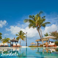Beautiful pool and lounge area at Sandals Grande St. Lucian
