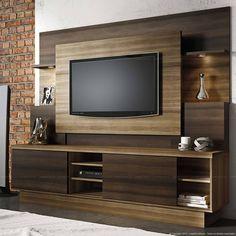 Estante Home Theater para TV até 55 Polegadas Aron Capuccino Wood/Ebano - Linea Brasil | Lojas KD